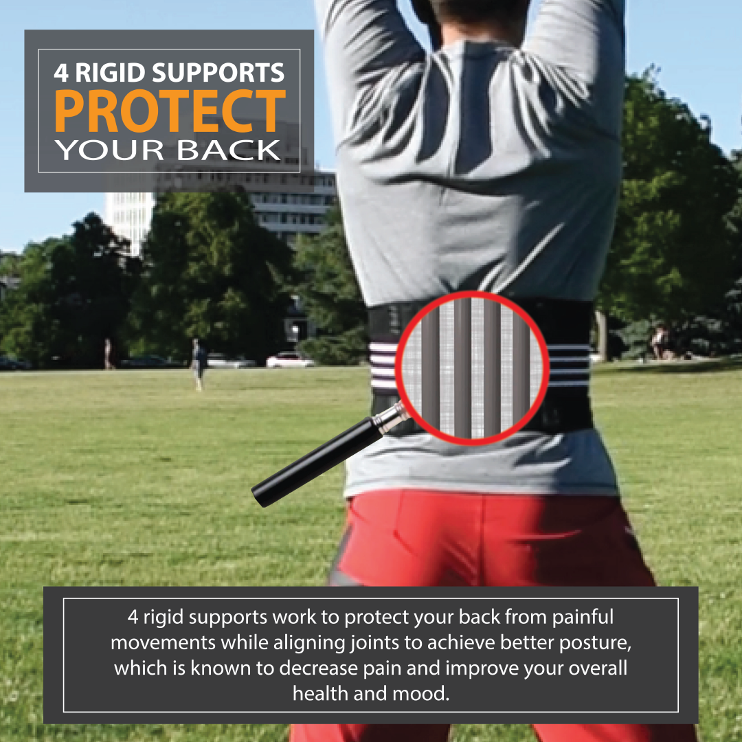 fitback is the only heated back brace that also provides support to the low back.  this is the ultimate back brace for activities.  wear it to support the back, restrict movements that are painful and use the heat to loosen the muscles and soothe any pain