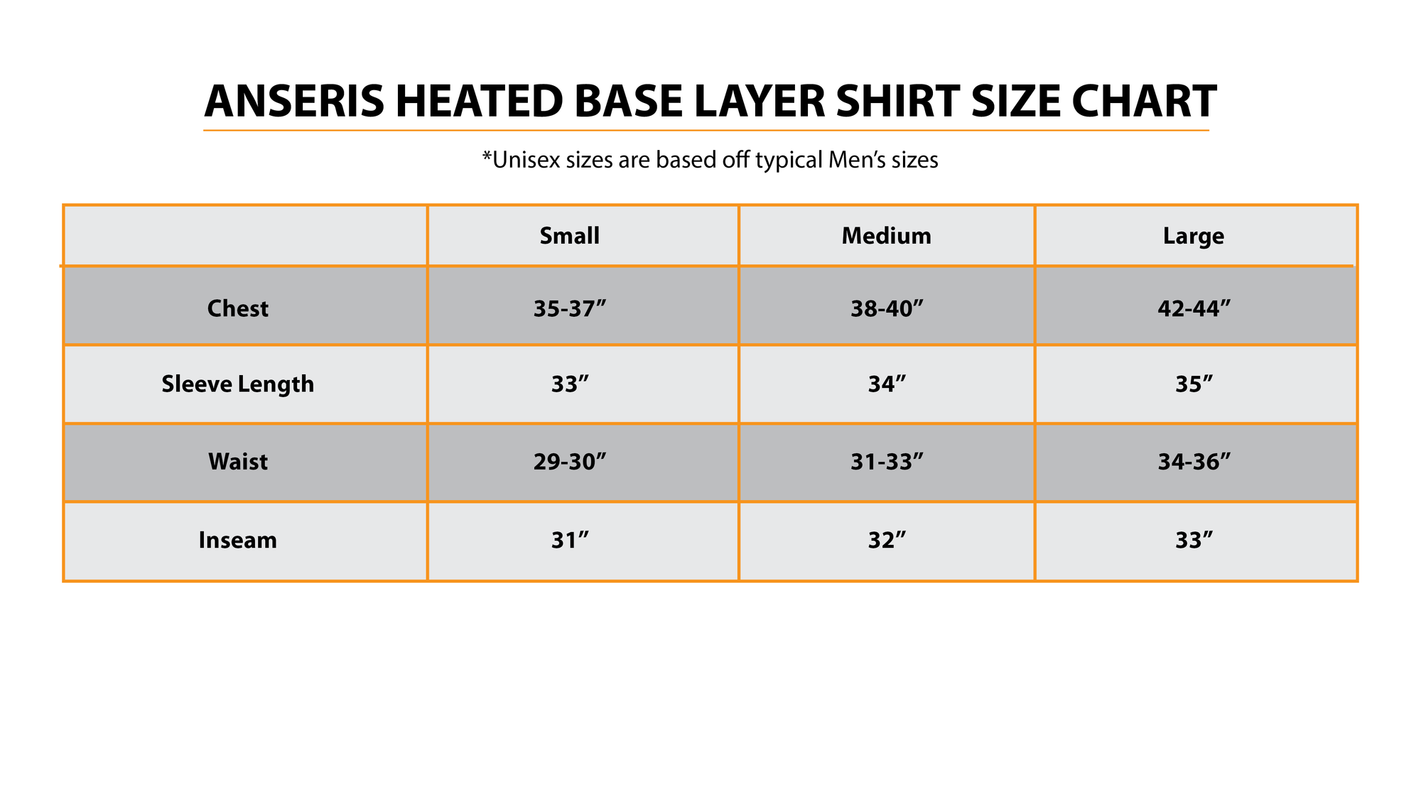 anseris heated base layer shirt size guide