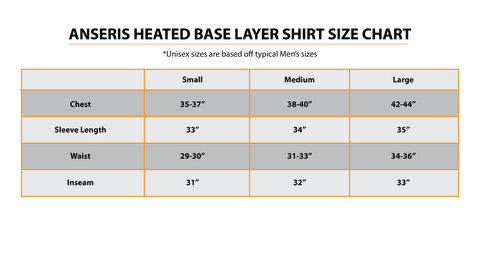 Anseris heated base layer shirt size chart