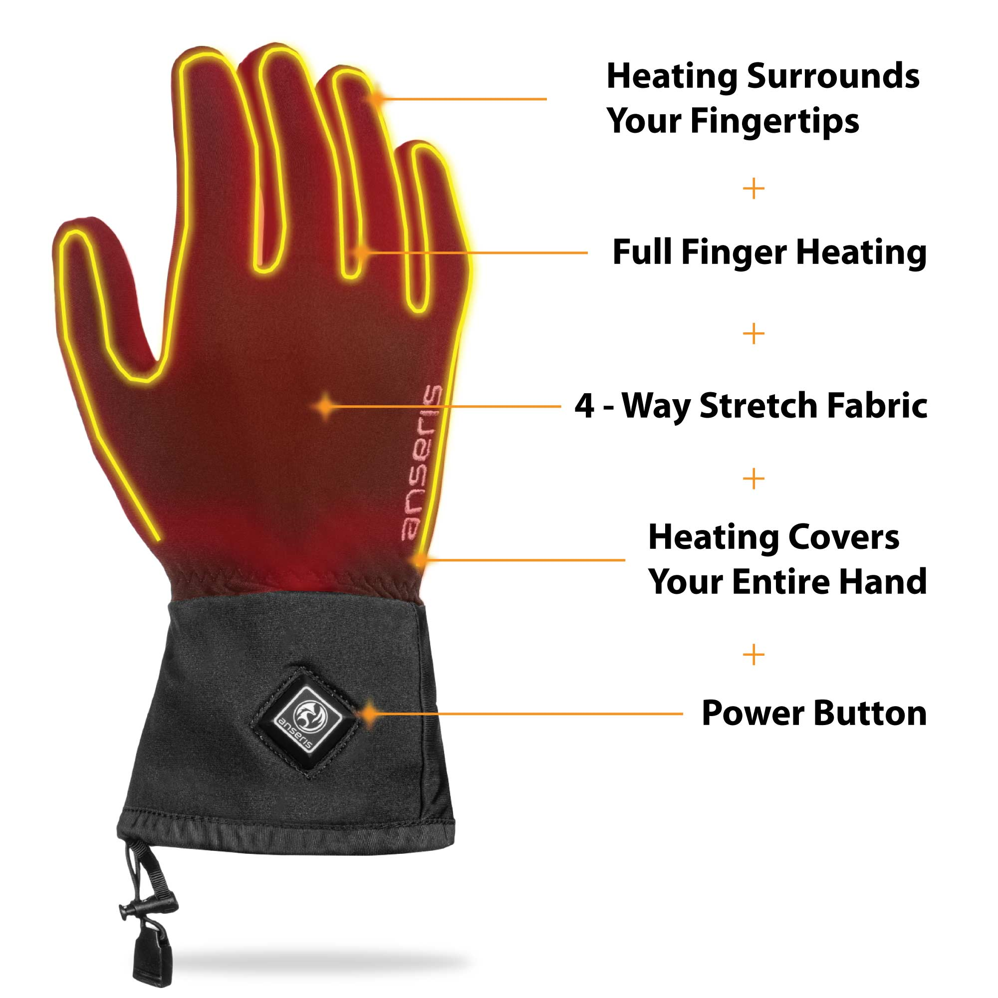 heated gloves feature full finger heating, 4 way stretch fabric a conveniently located power button with heat controls and adjustable wrist straps.