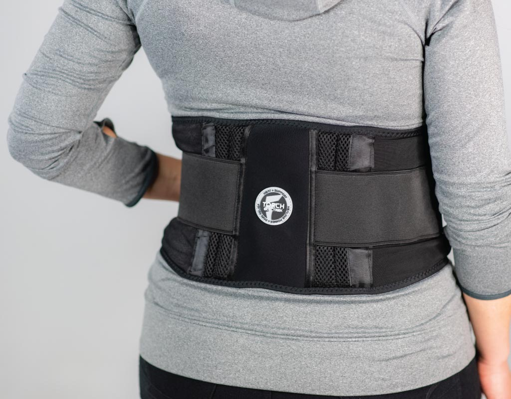 this battery powered heated back brace provides easy to adjust heat settings that radiate heat to the low back area with soothing heat and lumbar support.  soft and flexible materials add comfort for everyday use.