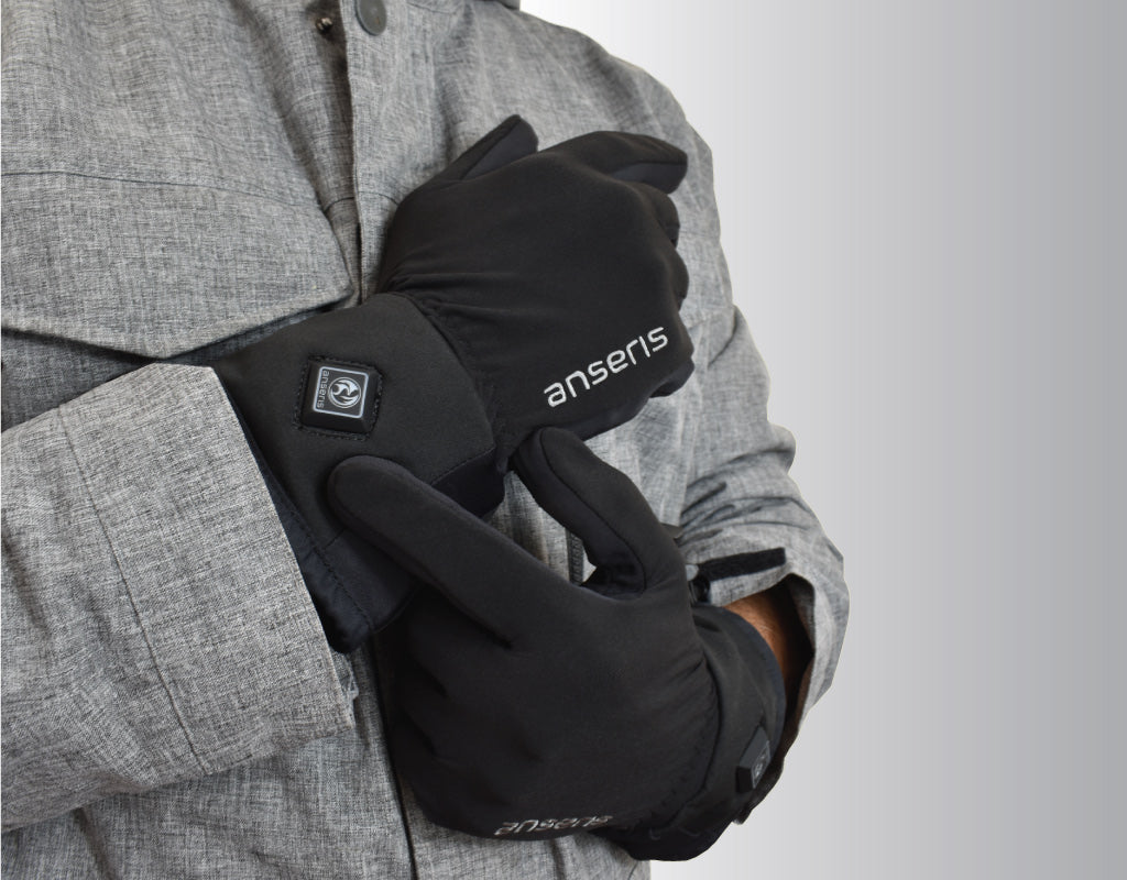 all new anseris battery powered heated gloves for skiing and snowboarding to keep fingers warm, rated the best heated gloves in 2020.  keep your fingers warm with easy to adjust heat temperatures that last for hours to keep you warm and happy.