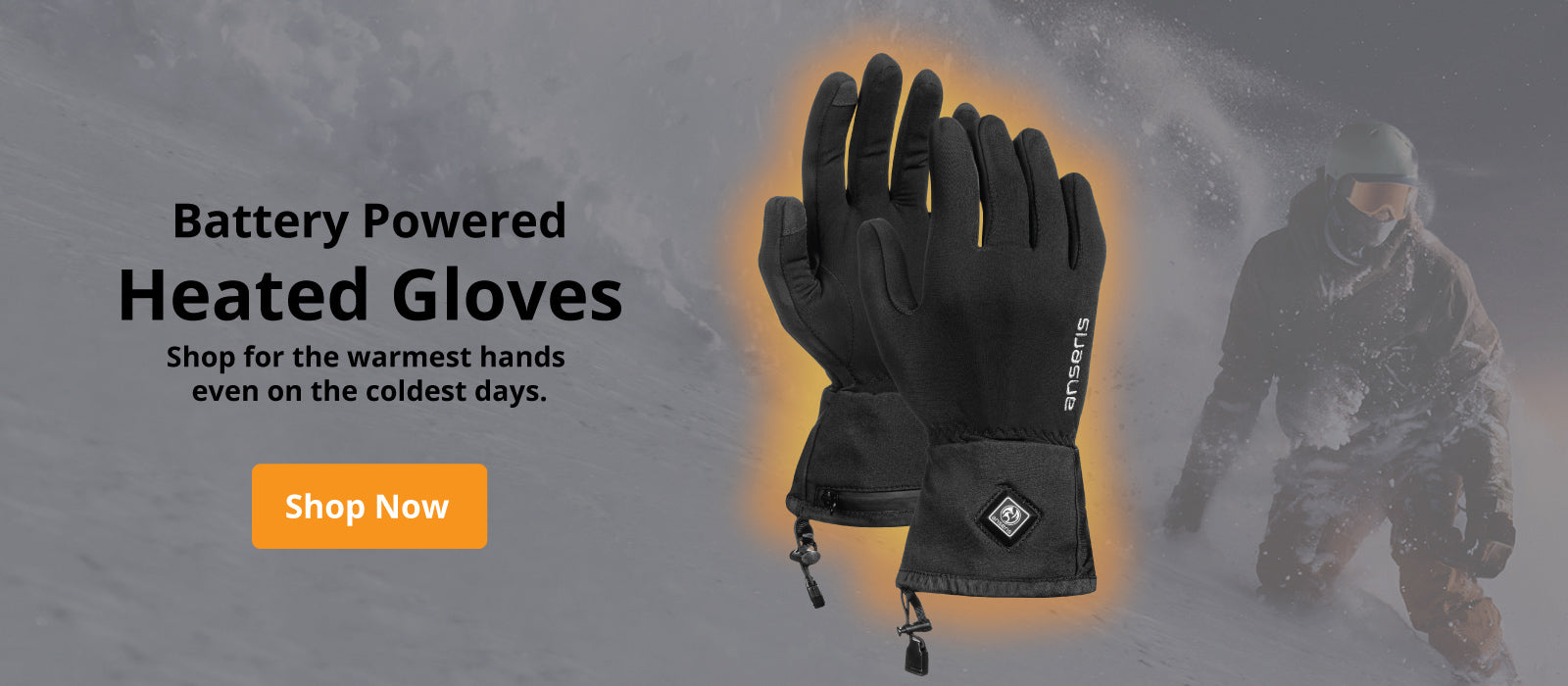 anseris heated glove liners feature full hand heating with heat activated by the press of a button