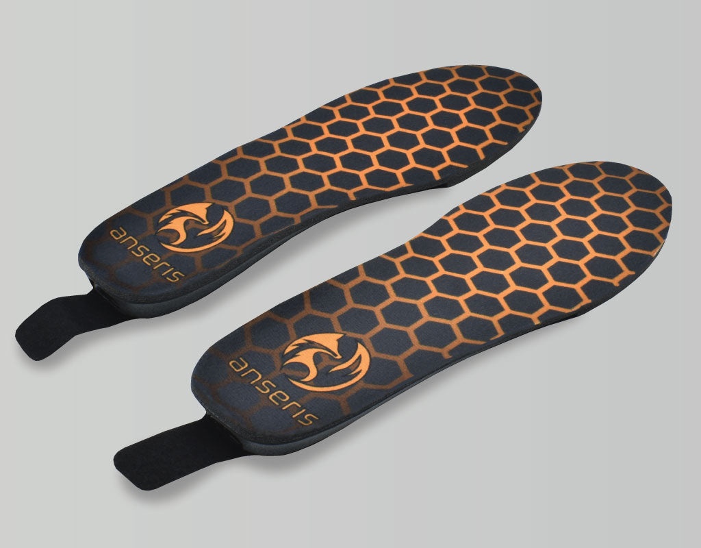 the outrek 2 battery powered heated insoles provide electric heat to keep your feet warm in any shoe or boot. heated insoles feature battery powered heat with three heat settings that are easily controlled by a convenient remote control