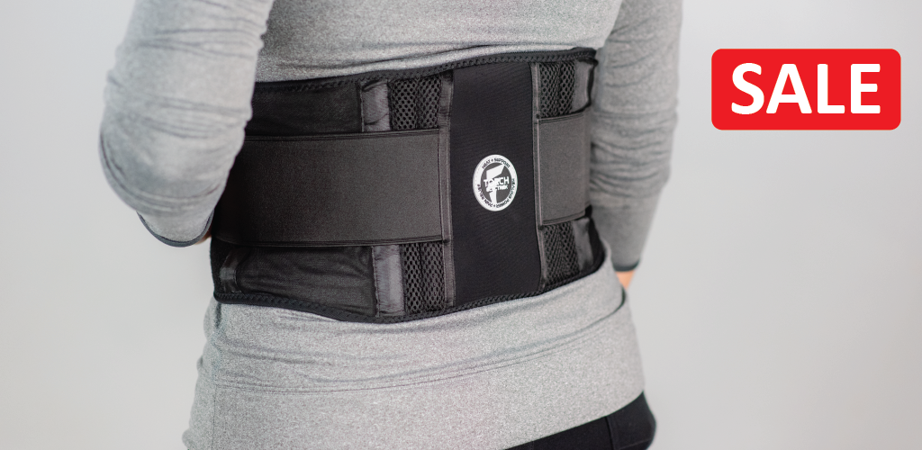 battery powered heated back brace for soothing heat and lumbar support