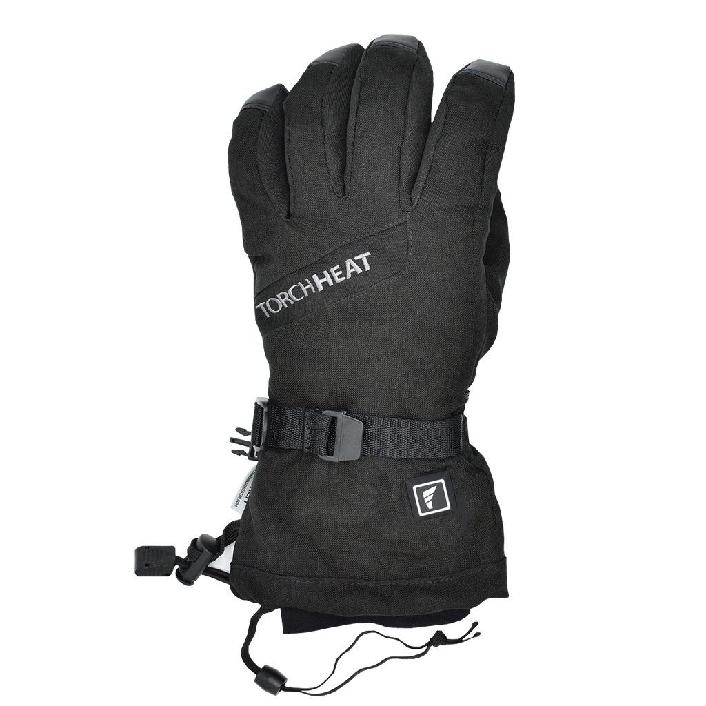 the torch electrek revolt heated gloves are stylish and functional with a power button, full hand heating, 3 heat settings, wrist buckle, leash, and cuff strap to keep the heat in and cold out