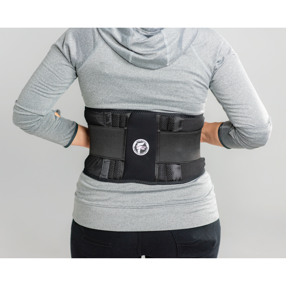 fitback is designed to support the low back to avoid painful movements, but is made with soft flexible materials on the sides that are flexible, breathable and comfortable.  this can be worn over or under clothing