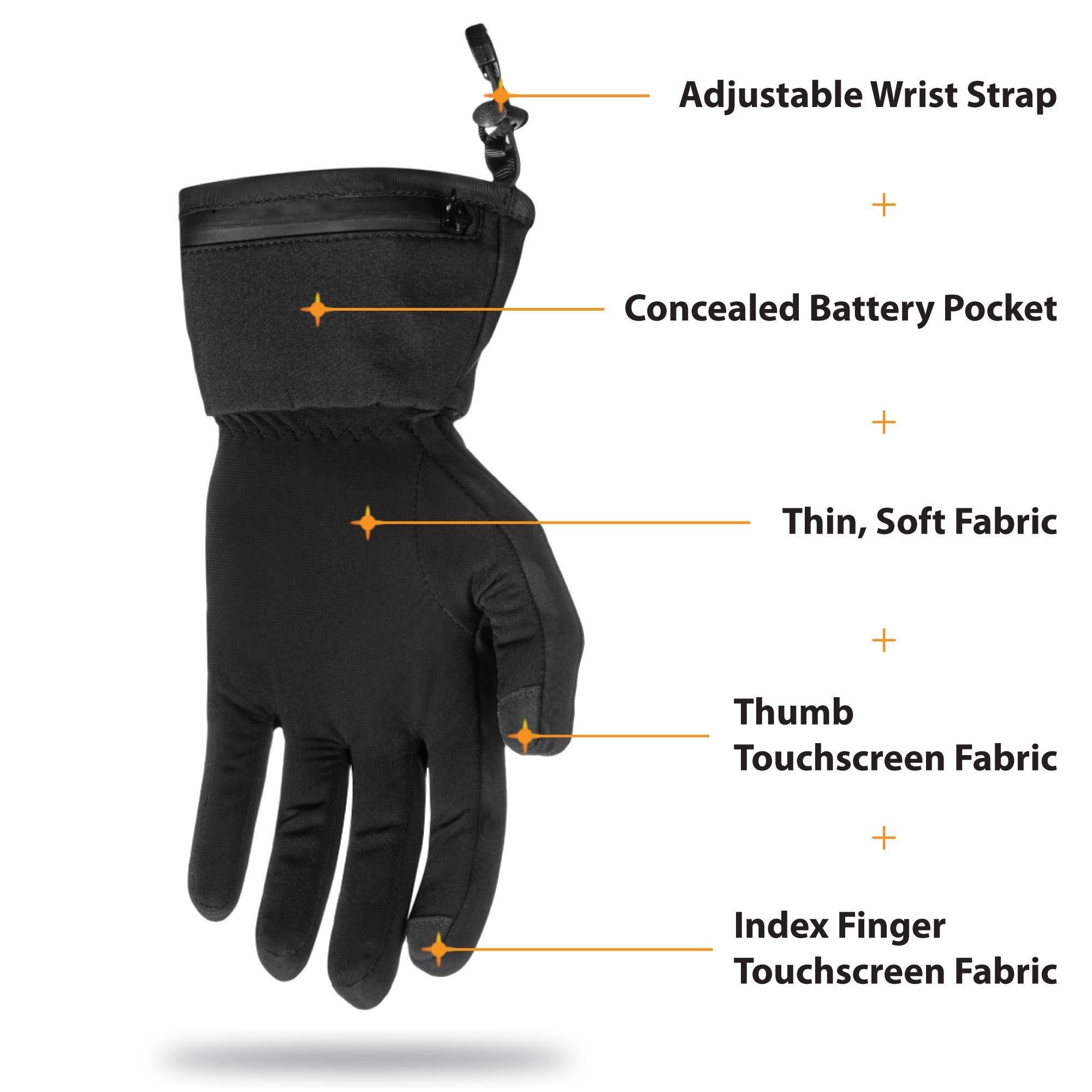 our battery powered heated gloves utilize a thin flexible battery that fits in a hidden pocket to maximize comfort.  thin and soft fabrics are comfortable and touchscreen fabrics on the fingertips make it easy to use your devices.