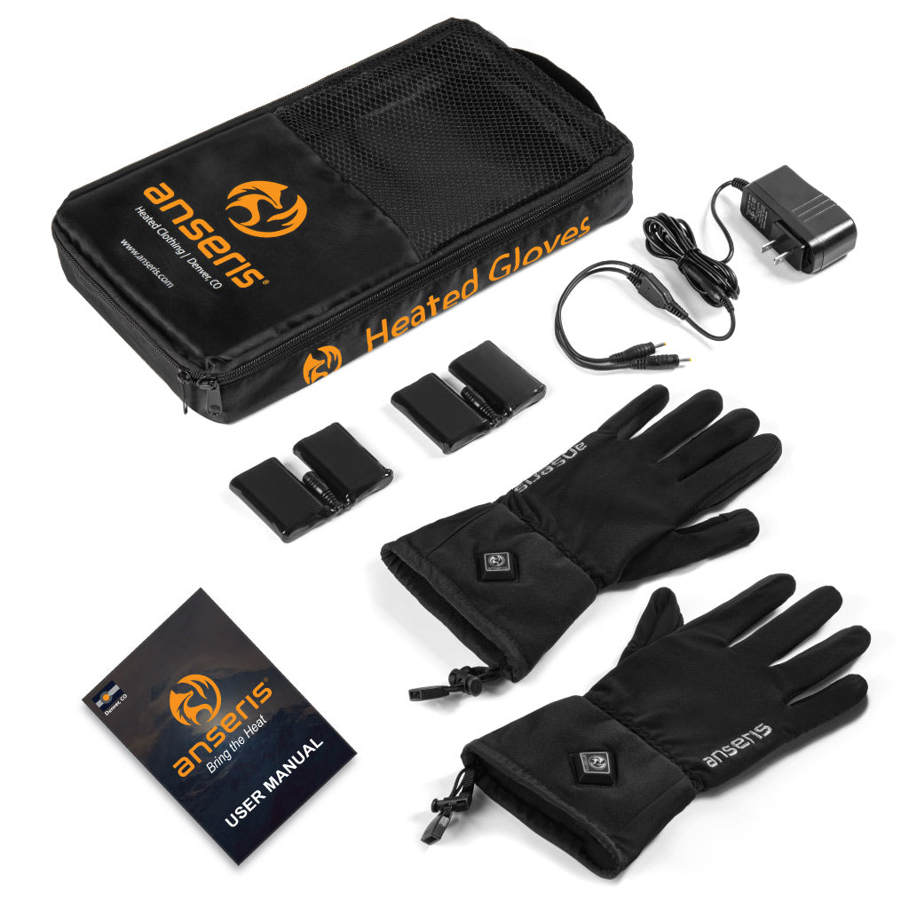 One pair of heated gloves, two flex batteries (one for each glove), one dual charger (to charge both batteries, and an easy to follow user manual.
