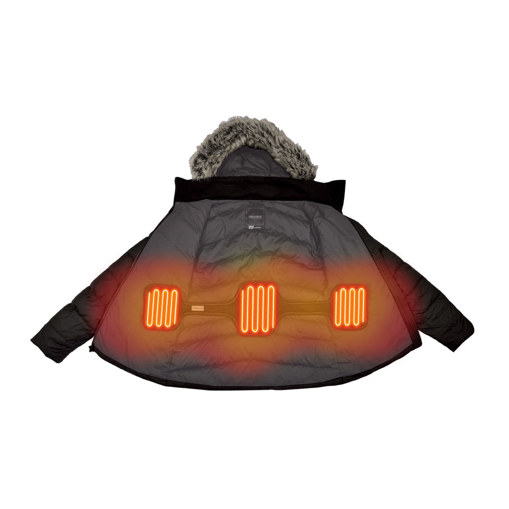 the torch coat heater fits in any jacket or coat to provide battery powered adjustable heat at the touch of a button to keep your core toasty warm in the coldest winter weather