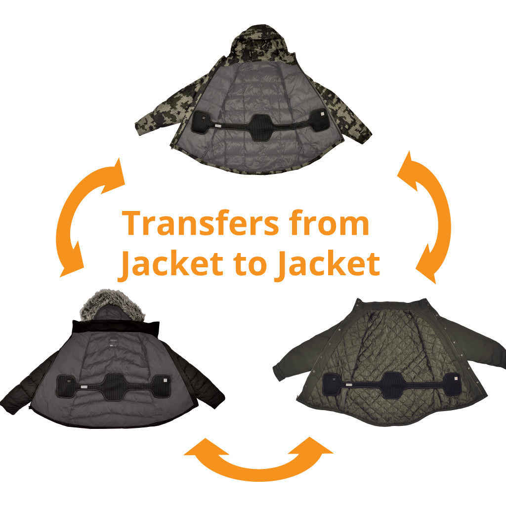 the torch coat heater can be installed in your jacket and the transferred from jacket to jacket.  have battery powered heat in all your coats.