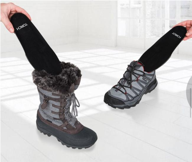 torch electrek outrek heated insoles fit any shoe or boot and are used to heat the foot with a remote control