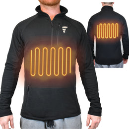 battery powered heated base layer shirt with 2 chest and back heat panels for warmth in the cold winter