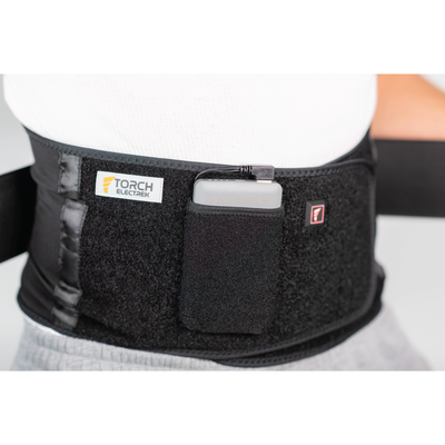 men battery powered heated lower back brace lumbar support belt for back pain for herniated disc, degenerative, sciatica treatment