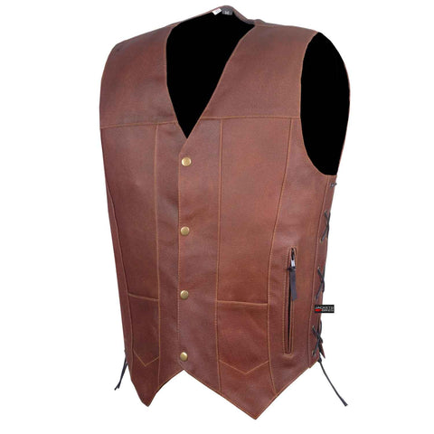 SOA Men Armor Leather Motorcycle Vest Side Lace Concealed Carry Gun Pockets