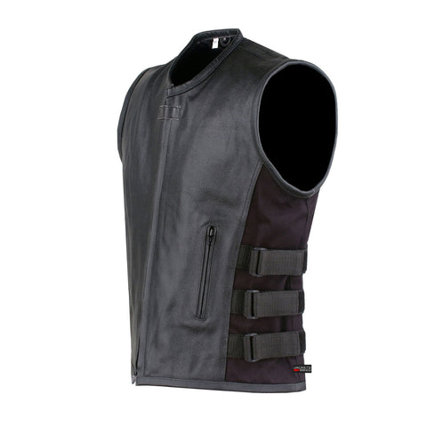 NEW BIKER MOTORCYCLE LEATHER VEST STYLISH BLACK