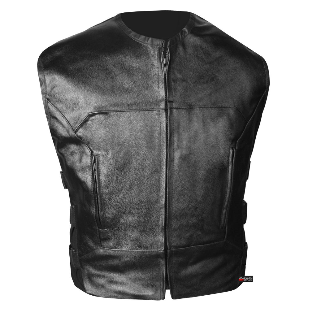 M Mens Motorcycle SWAT style updated tactical leather waistcoat biker vest