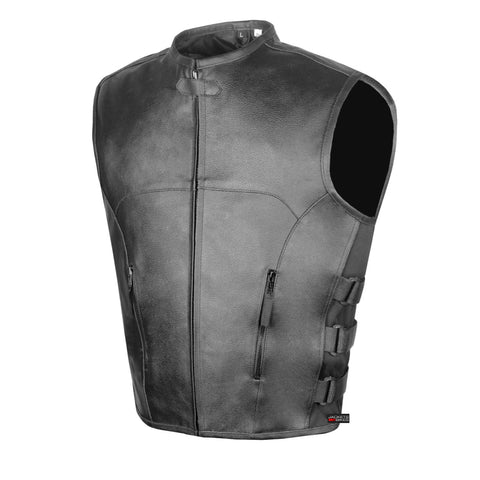 Men's Biker Swat Style Armor Motorcycle Leather Vest Conceal Carry Pockets