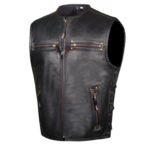 Men's Motorcycle Buffalo Leather Gun Pocket Armor Biker Club Vest Side Laces