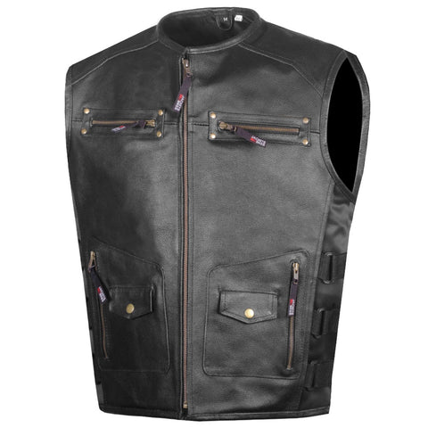 Men's Armor Motorcycle Biker Vest Conceal Carry Cowhide Leather