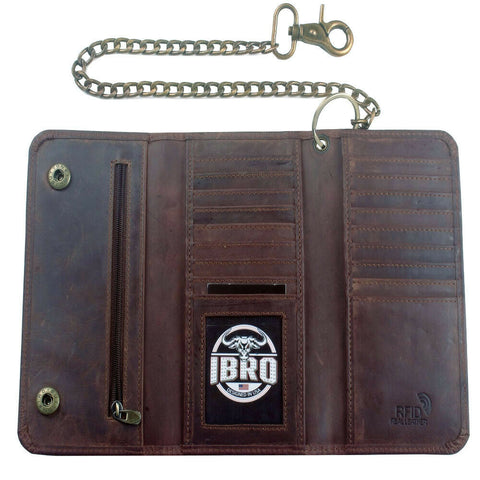 IBRO Men's Motorcycle Genuine Leather RFID Trifold Metal Chain Trucker Biker Wallet