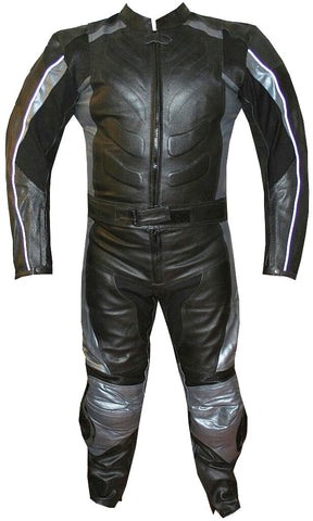 2PC MOTORCYCLE 2 PC LEATHER RACING SUIT ARMOR SILVER
