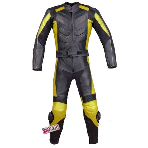 2PC MOTORCYCLE 2 PC LEATHER RACING SUIT ARMOR YELLOW