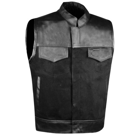 SOA Men's Leather and Denim Motorcycle Club Vest Gun Pockets Biker w/ Armor