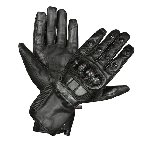 Motorcycle Carbon Fiber Knuckle Drum Dyed Cowhide Winter Spring Glove Black