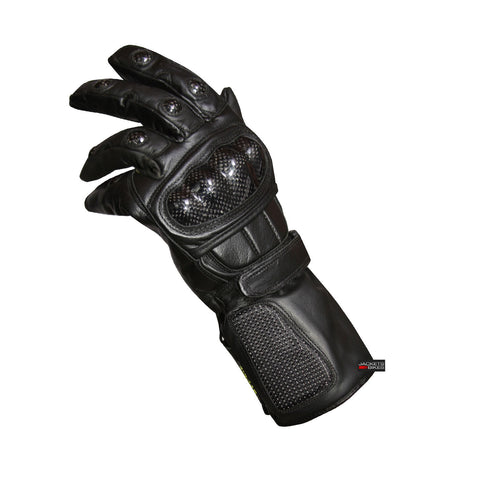 WOMENS LADIES MOTORCYCLE CARBON FIBER LEATHER GLOVES