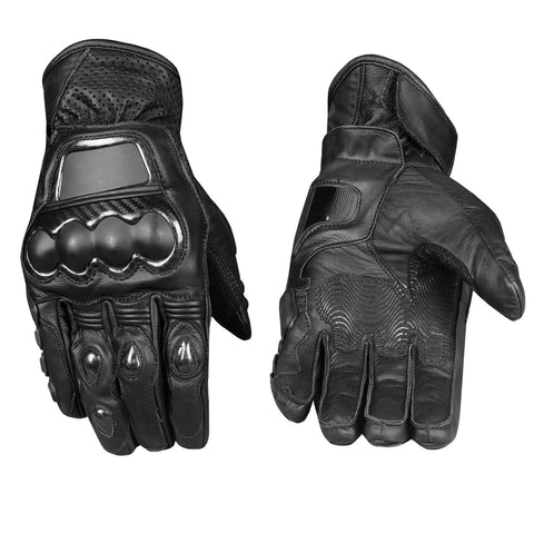 Men's Pro GTX Premium Leather Motorcycle Biker Racing Short Black Gloves