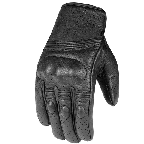 Men's Premium Leather Motorcycle Protective Perforated Gel Padded Gloves