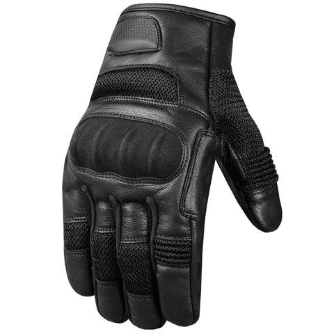 Men's Aniline Goat Leather Mesh Tactical Motorcycle Biker Touchscreen Gloves