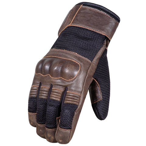 Men's Cafe Racer Cruiser Motorcycle Biker Leather Mesh Gloves