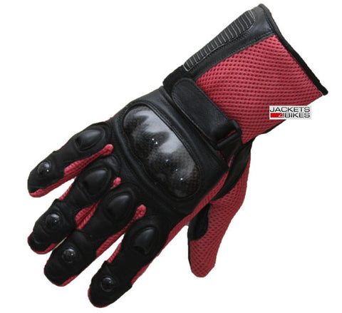 Unisex CARBON Fiber Motorcycle Mesh & Leather Race Gloves Pink