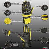 CARBON FIBER Motorcycle Mesh & Leather Bike Yellow Gloves