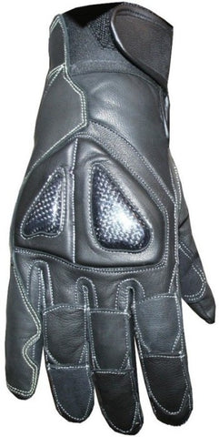 New Womens Black Leather Motorcycle BIKE Gloves