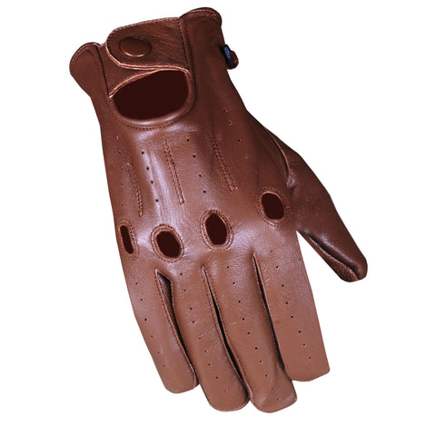 Men's Transporter Genuine Soft Lambskin Aniline Leather Driving Gloves Brown