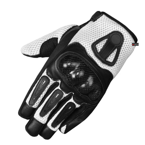 New Men Short Motorcycle Leather Mesh Gloves White Carbon Fiber