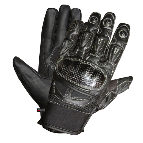 MOTORCYCLE BIKER GLOVES CARBON FIBER LEATHER BLACK