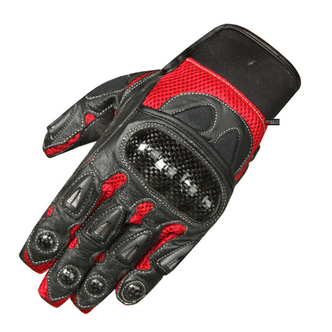 MOTORCYCLE BIKER GLOVES CARBON FIBER LEATHER RED