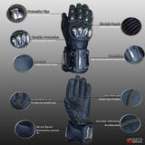 EXCALIBUR BLACK LEATHER CARBON & STEEL ARMOR MOTORCYCLE GLOVES