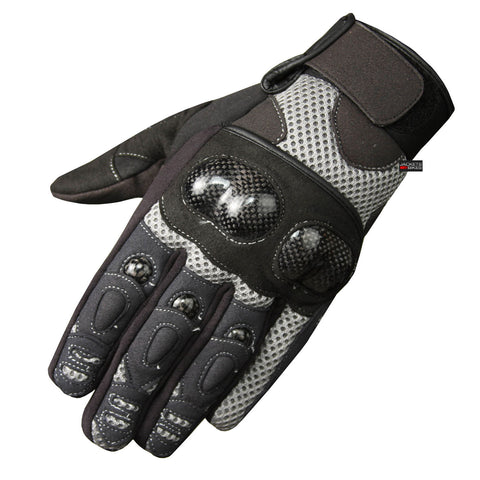 MOTORCYCLE BIKE MESH GLOVES CARBON FIBER ARMOR GRAY