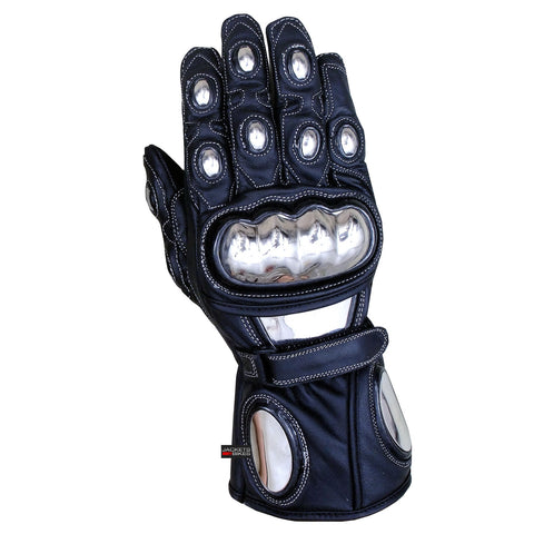 TROOPER BLACK FULL LEATHER STEEL ARMOR CARBON MOTORCYCLE GLOVES