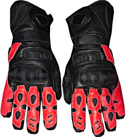 MOTORCYCLE LEATHER GLOVES CARBON FIBER BIKE Red