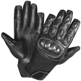 CARBON FIBER MOTORCYCLE MESH & LEATHER SHORT GLOVES