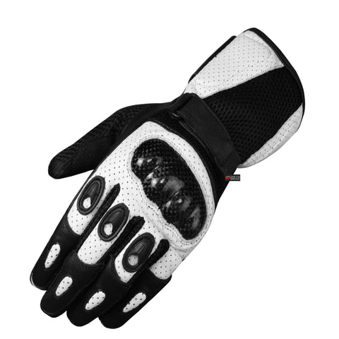 New Men Motorcycle Perforated Leather Mesh Gloves Mens White