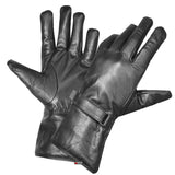 New Premium Cow Hide Leather Men Gauntlet Gloves Motorcycle Biker Black