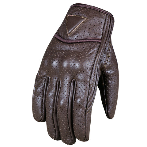 Men's Premium Motorcycle Leather Perforated Cruiser Safety Gel Brown Gloves
