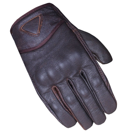 Men's Premium Leather Street Motorcycle Cruiser Biker Gel Brown Short Gloves